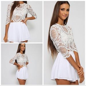 White crochet play suit by REVERSE